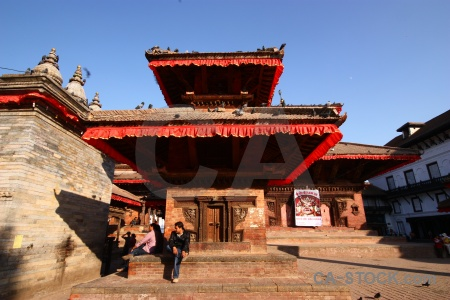 Wood durbar square building nepal sky.
