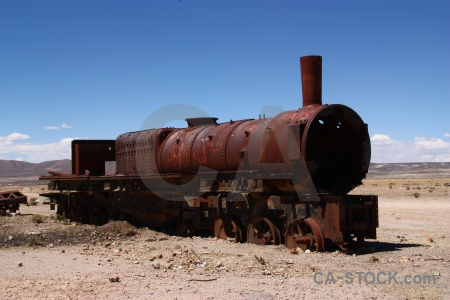 Wreck train cemetery sky south america vehicle.