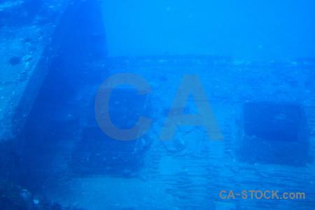 Wreck underwater blue.