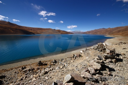Yamdrok lake mountain friendship highway water tibet.